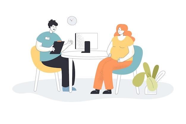 사무실에서 임신한 여자를 상담하는 의사. 병원 평면 그림에서 여성 환자와 이야기하는 산부인과 의사