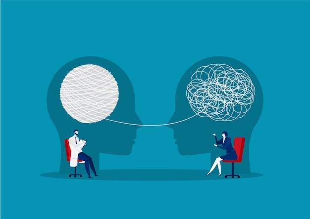 うつ病、障害治療、心理療法の比喩についての医師のカウンセリング。概念