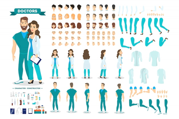 Doctor couple character set for the animation with various views, hairstyle, emotion, pose and gesture. medical equipment. male surgeon and female worker.   illustration in cartoon style
