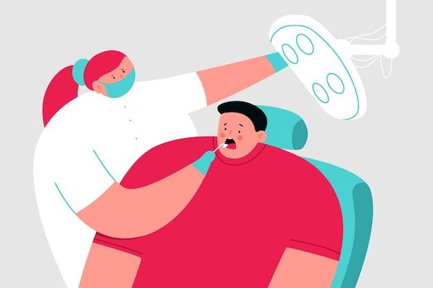 医者の歯科医と椅子の患者漫画医療イラスト。