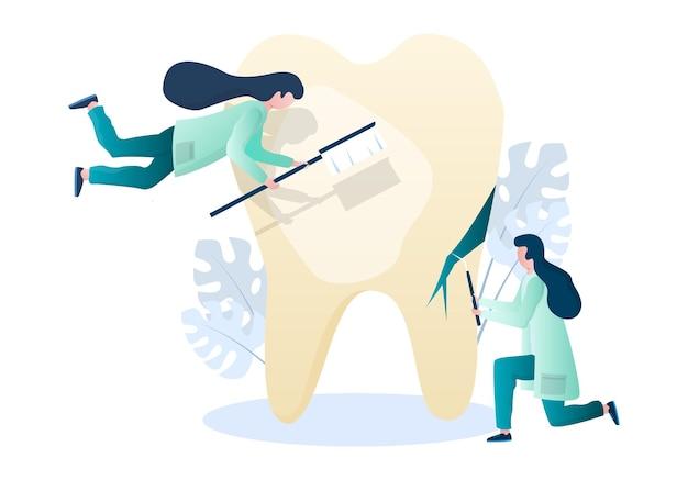 医者の歯科医のキャラクターは、人間の歯のベクトル図歯科の口腔の健康をきれいにし、治療しています...