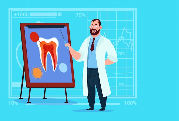 Doctor dentist looking at tooth on board medical clinics worker stomatology hospital