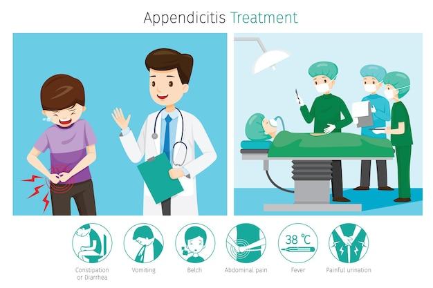 Врач диагностирует и оперирует пациента с аппендицитом