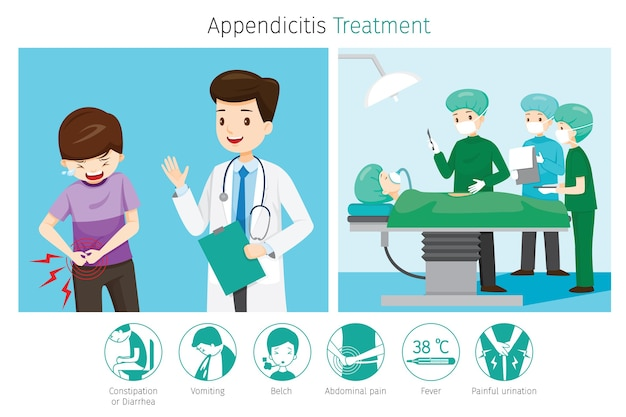 Doctor diagnose and operate on appendicitis patient