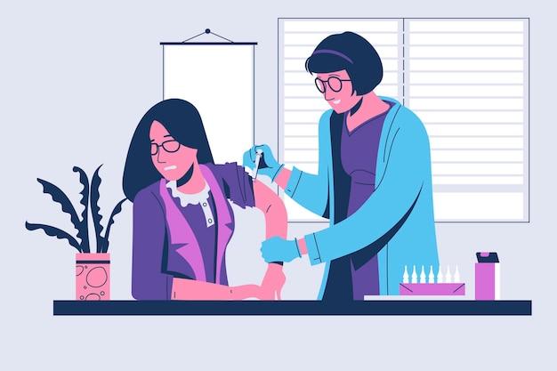 Doctor doing injection of virus vaccine to teacher patient