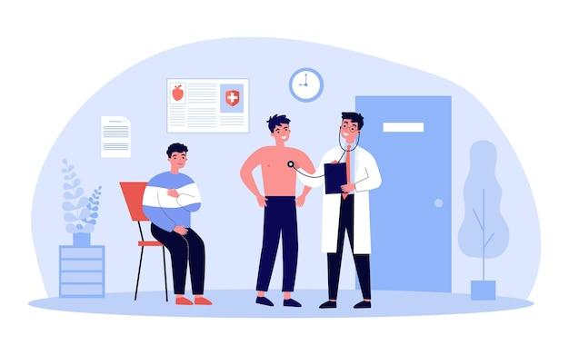 Doctor doing medical survey of patients illustration