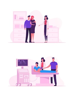 Doctor doing ultrasound fetus screening checkup in clinic. cartoon flat illustration