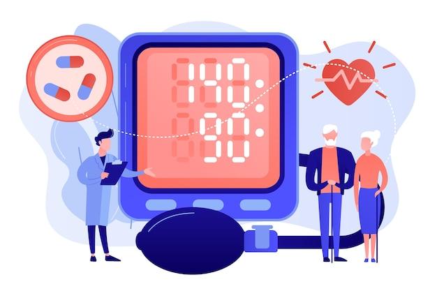Доктор, пожилая пара у тонометра высокое кровяное давление, крошечные люди. высокое кровяное давление, гипертоническая болезнь, концепция контроля кровяного давления. розовый коралловый синий вектор изолированных иллюстрация