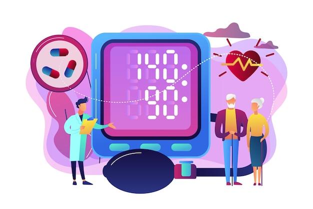 Dottore, coppia di anziani al tonometro alta pressione sanguigna, persone minuscole. alta pressione sanguigna, malattia di ipertensione, concetto di controllo della pressione sanguigna.