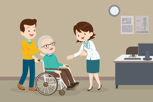 Doctor and elderly man in wheel chairdoctor checking up on his wheel chaired patient