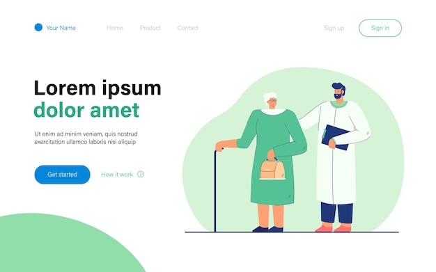 Doctor and elderly woman flat  illustration. medicine worker helping woman of age with cane, giving her recommendations, and providing medical treatment. help, medicine, maturity, care concept