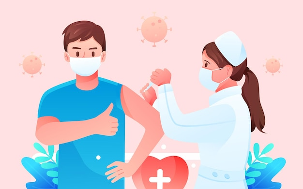 Doctor epidemic vaccination new crown vaccine guarantee medical health vector illustration