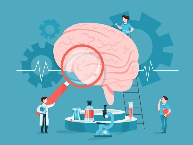 Doctor examine huge brain. idea of medical treatment
