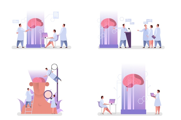 의사는 거대한 뇌를 검사합니다. 치료의 아이디어