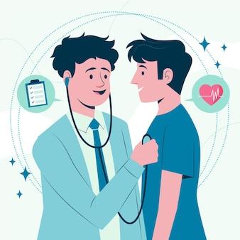 Врач, осматривающий пациента в клинике, иллюстрированный