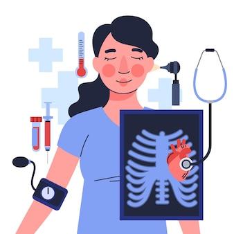 図解されたクリニックで患者を診察する医師