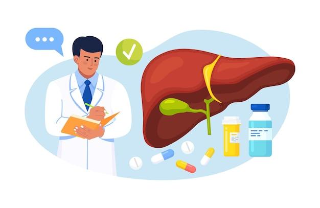 간염, 암, 간경변에 대해 인간의 간을 검사하는 의사. 의사가 간 검진 결과를 작성합니다. 의료 실험실 연구, 내부 장기의 진단 및 치료