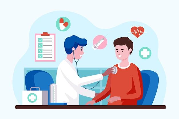 Medico che esamina un paziente presso la clinica illustrato