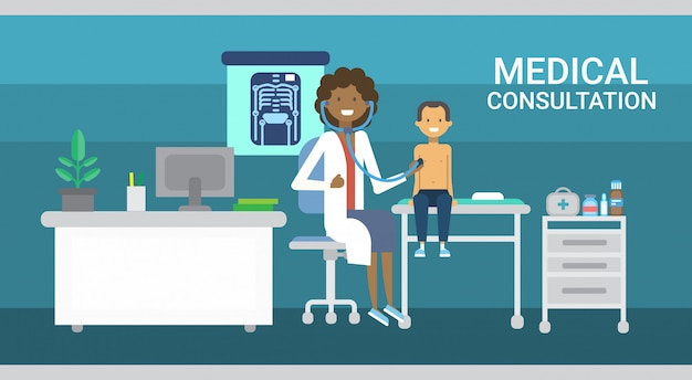 Doctor examining patient medical consultation health care clinics hospital service medicine banner