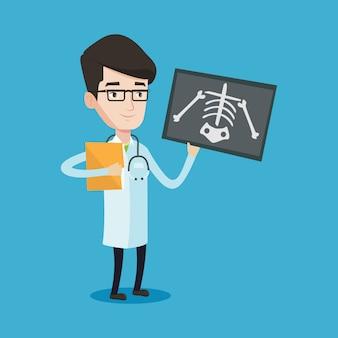 Doctor examining radiograph illustration.