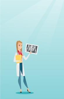 Doctor examining radiograph vector illustration.