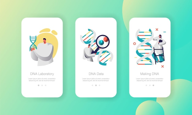 Doctor explore genome pair in dna cell mobile app page onboard screen set.
