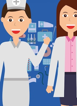 医師の女性と看護師の職業医学