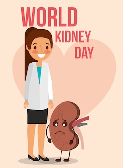 Doctor female and cartoon kidney day celebration