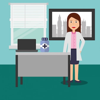 Doctor female in consulting room desk laptop medicine bottle
