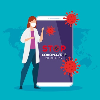 Doctor female and smartphone with app stop covid 19