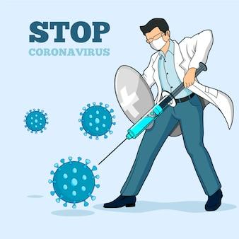 コロナウイルスと戦う医師