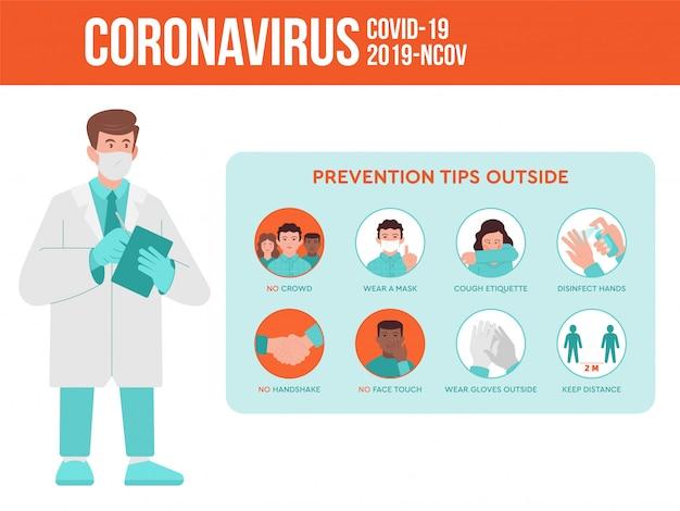 의사는 사람들에게 코로나 바이러스 검역 전염병 상황에 대한 예방 정보를 제공합니다. 코로나 바이러스는 인포 그래픽 명령을 설정합니다.