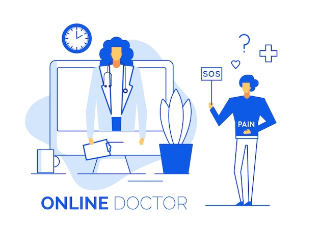Doctor give online consultation to sick patient