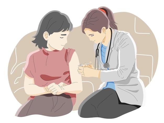 入院中の患者に注射またはワクチンを与える医師