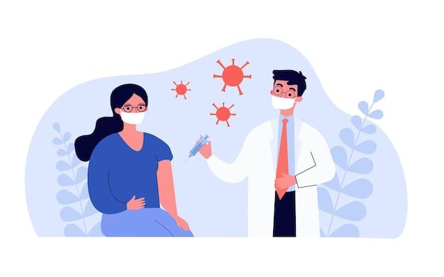 コロナウイルスに対する患者のワクチンを与える医者。フラットベクトルイラスト。予防接種の過程に参加しているマスクを身に着けている女性と男性。医学、予防接種、免疫、covid19の概念