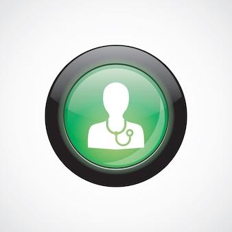 ドクターガラスサインアイコン緑の光沢のあるボタン。 uiウェブサイトボタン