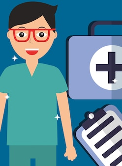 Doctor in glasses with kit first aid and clipboard