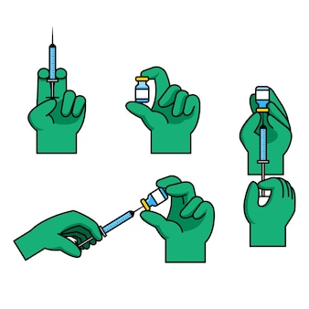 Doctor hand gesture preparing vaccine injection
