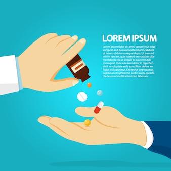 Рука доктора, давая пациенту лекарство. доза лечебной капсулы. идея здравоохранения и медикаментов. иллюстрация