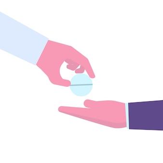 Доктор рука, давая таблетку пациенту другой рукой