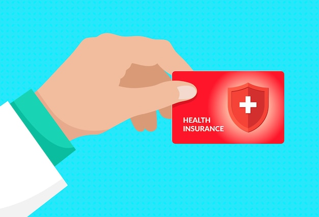 Doctor hand holding medical health insurance red card healthcare service concept vector illustration