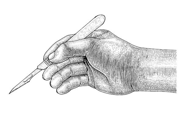 의사가 손을 잡고 메스, 흰색 배경에 외과 드로잉 빈티지 스타일