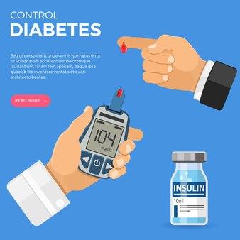 Рука доктора держит глюкометр и палец с каплей крови. тестирование уровня сахара, лечение, мониторинг и диагностика концепции диабета. значок в плоском стиле. изолированные векторные иллюстрации