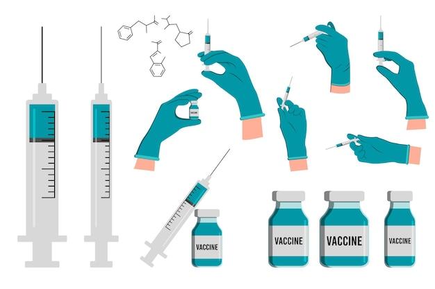 의사는 주사 바늘이 달린 주사기를 들고 장갑을 끼고, 주사기가 있는 약병과 백신이나 약이 들어 있는 앰플을 착용합니다. 주사를 만드는 의사 손. 백신 접종. 벡터