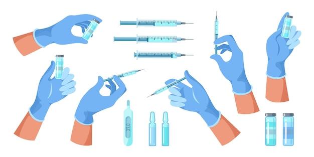 의사는 주사기를 손에 들고, 백신이 든 병은 예방 접종 치료를 위해 주사합니다. 의학, 과학 및 건강 관리 개념입니다. 평면 벡터 일러스트 레이 션 의료 독감 예방 접종 아이콘 설정