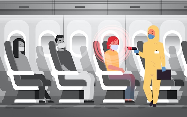 Doctor in hazmat suit checking airplane passengers for epidemic  virus symptoms wuhan coronavirus  pandemic medical health risk concept plane interior horizontal