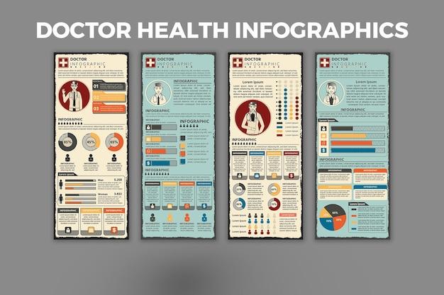 医師の健康インフォグラフィックデザインテンプレート