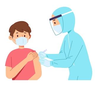 의사 의료 종사자가 환자에게 코 비드 코로나 백신 주사기를 주입하는 데 도움