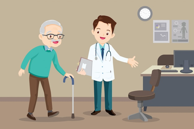 Doctor helps  grandfather to go to the walker
