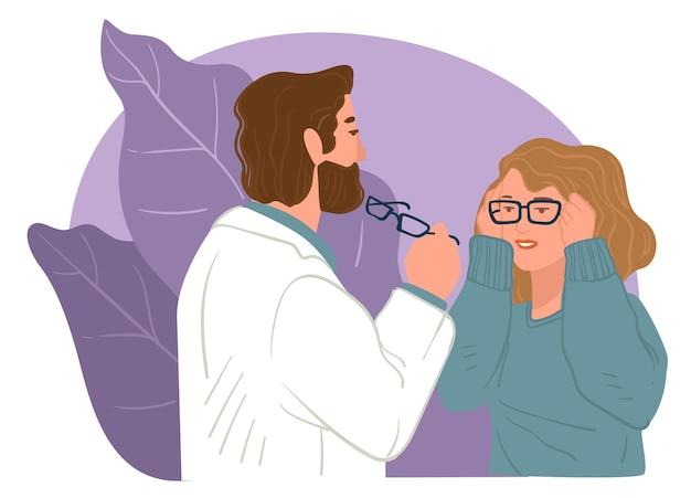 Врач помогает подобрать очки пациенту с плохим зрением. аксессуары в магазине или магазине, офтальмология и здравоохранение для людей. запись на прием в клиники или больничный вектор в квартире